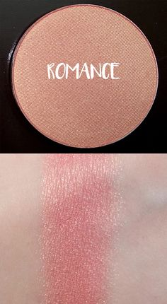 Makeup Geek Blush Swatch in Romance - finely milled light gold/champagne glitter shimmer