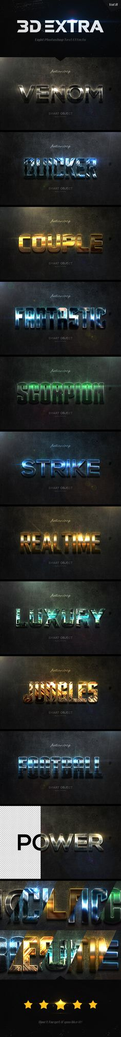 New 3D Extra Light Text Effects Vol.8 - Text Effects Styles