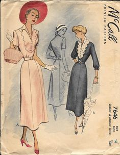 McCall 7646 Vintage 1940s Evening Dress Sewing Pattern Size 14 Bust 32 by VintagePatternStore on Etsy