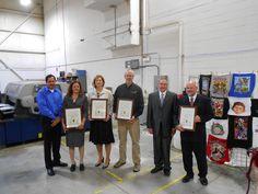 Wisconsin Green Tier - Sustainable Green Printing Partnership Charter signing event.  L to R - Mark Aquino WI DNR, Doreen Monteleone FTA, Marci Kinter SGIA, Marshall Atkinson SGIA, Gary Jones PIA, Joe Lyman GLGA