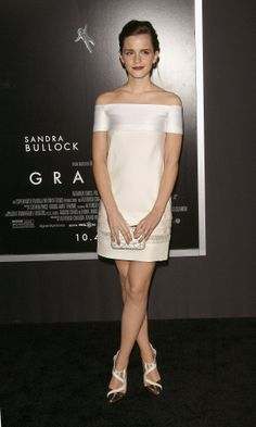 Days since runway show: 20 J. Mendel's white silk dress was a perfect choice for the classic-leaning Emma Watson, who wore the mini to the New York premiere of the Sandra Bullock-led thriller Gravity. Her black-and-white shoes were Manolo Blahnik for J. Mendel.