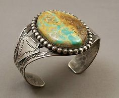 Classic Old Navajo Silver Stamped Turquoise Bracelet Unmarked - NICE Old Patina