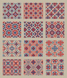 For sale is Cross Stitch Sampler 1 For 12 Squares Repeating Fill-In Antique Patterns Instant Downloa Cross Stitch Borders, Simple Cross Stitch, Cross Stitch Samplers, Cross Stitch Designs, Cross Stitching, Cross Stitch Patterns, Diy Embroidery, Cross Stitch Embroidery, Embroidery Designs