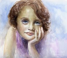 Young Girl Child Watercolor Portrait Painting by Svetlana Novikova - Young Girl Child Watercolor Portrait Fine Art Prints and Posters for Sale