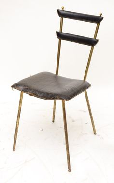 Jacques Adnet; Brass and Stitched Leather Sidecahair, 1950s.