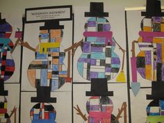 """""""Mondrian Snowman""""- Gr.2, three color, Mondrian inspired, crayon and construction paper composition."""