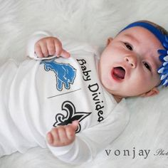 Baby Divided onesie or toddler shirt by PolkaDautz on Etsy, $16.00 love that the Saints are already on this one :)