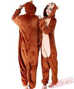 Brown Monkey Kigurumi Onesies Pajamas Costumes for Women   Men. Vimans  Winter Pijamas Monkey Flannel Sleepwear Hood ... 0b78faeb9