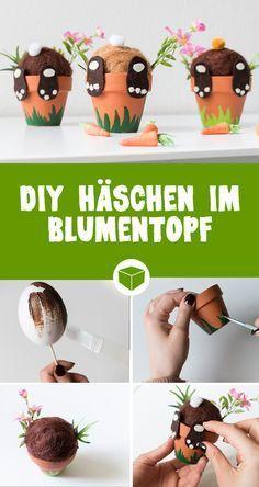 DIY Hase im Blumentopf: So einfach bastelst Du süße Häschen, die aus dem Töp… DIY bunny in a flowerpot: It's so easy to make cute bunnies that look out of the potty. With a little felt, terracotta pots and styrofoam, this craft is very easy for Easter. Diy And Crafts, Crafts For Kids, Children Crafts, Boyfriend Crafts, Diy Ostern, Valentine's Day Diy, Terracotta Pots, Cute Bunny, Valentines Diy