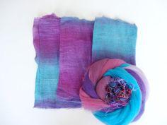 Hand Dyed Lightweight Summer Scarf Wet Felting Kit by HeartFeltSilks