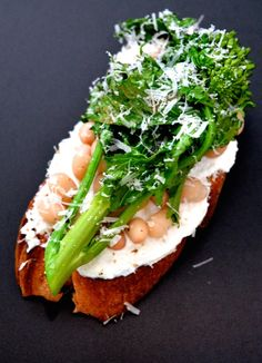 Broccolini Crostini with Cannellini Beans and Shaved Parmesan