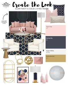 glam home accents Glam, Navy amp; Blue And Pink Living Room, Blush Living Room, Navy Living Rooms, Blue Living Room Decor, Pink Room, Home Living Room, Navy Blue Bedrooms, Room Color Schemes, Room Colors