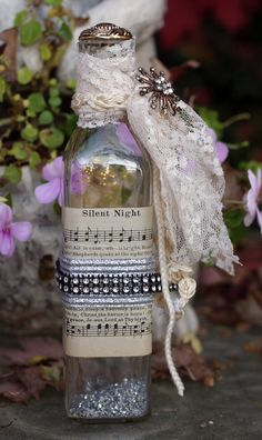 Vintage Altered Bottle Christmas cute winter wedding table decor double as favors