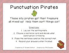 3rd Grade Gridiron: Friday Freebie: Punctuation Pirates