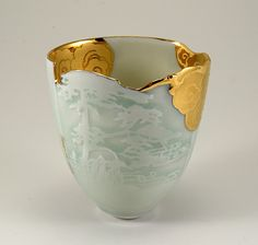 """Every Cloud"" Southern Ice porcelain, sand carved, gold, raised enamel, high X wide X wide - Johanna De Maine Ceramic Bowls, Ceramic Pottery, Pottery Art, Ceramic Art, Japanese Ceramics, Japanese Pottery, Japanese Art, Kintsugi, Wabi Sabi"