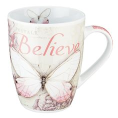 """Botanic Butterfly Blessings Pink """"Believe"""" Mug - Mark 13 Oz. Capacity 4 Inch Tall Ceramic Lead & Cadmium-Free Glaze Microwave & Dishwasher Safe Gift-Boxed Manufactured in China 1 of 3 in a Style Collection Art © Jane Shasky Butterfly Gifts, Pink Butterfly, Butterflies, Christian Art Gifts, Coffee Cup Art, Father's Day Celebration, Believe, Bible Covers, Matching Gifts"""