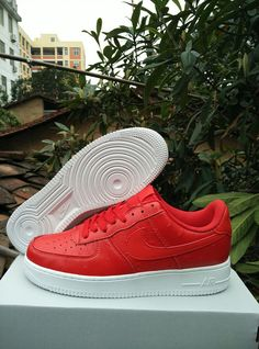c4ea74c7d6 Nike Air Force 1 Low Red White Ostrich Men Shoes