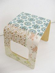 the coolest dottie angel stool. vintage wallpaper, glue, and a bit of stitching. sigh