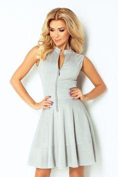 Sukienka Z Glebokim Dekoltem V Na Plecach Bezowa M490 Dresses For Work Fashion Cold Shoulder Dress