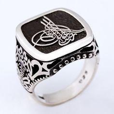 Osmanlı Tuğrası temalı, 925 ayar, gümüş erkek yüzüğü
