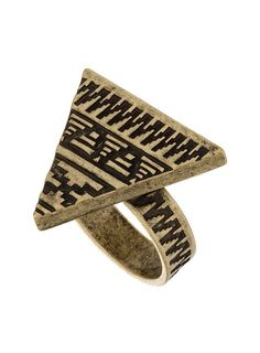 jewels, hipster, triangle, aztec, ring, gold, gold ring - Wheretoget