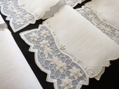 EXQUISITE Vintage Madeira Hand Embroidery 12 Cocktail Napkins ORGANDY WINDOWS