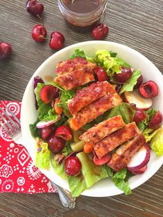 BBQ Cherry Chicken Salad with Cherry Vinaigrette is a healthy 30 minute meal. Bursting with delicious cherry flavor. A perfect salad for summer!