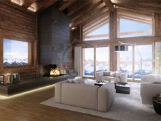 Dream Home Design, House Design, Triangle House, Chalet Style, Winter Cabin, Fireplace Remodel, Cabins And Cottages, Space Architecture, Fireplace Design