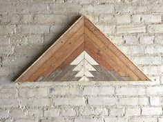 "Reclaimed Wood Wall Art, Decor, Lath, Pattern, Triangle, Mountain, Gradient, Landscape, 33"" x 17"" by EleventyOneStudio on Etsy https://www.etsy.com/listing/266903079/reclaimed-wood-wall-art-decor-lath"