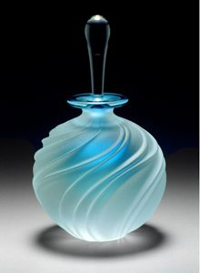"Such an elegant piece - ""Carved Swirl Perfume Bottle"" - created by Mary Angus.  Blown glass with sandblasted and etched pattern."