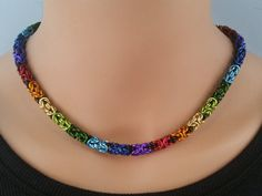 Byzantine Necklace in Rainbow Colors, Chainmaille necklace, Chainmail necklace, Chain mail necklace, chain maille necklace