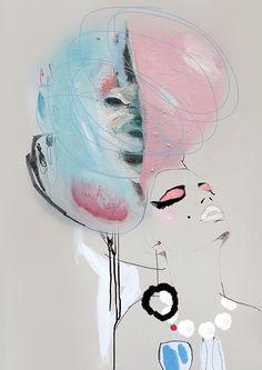 "fashion illustration,Giclée print of acrylic painting, girl, cream, pink,blue makeup high fashion ""Floss"""