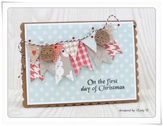 Christmas banners card by Emilia made using the beautiful Dovecraft Krafty Christmas papers