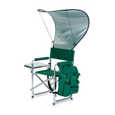 The Cobra Chair is a portable - folding chair with detachable canopy and armrest caddy cooler all in one! A padded seat - backrest and armrests provide the comfort you expect from a Picnic Time chair. A fold-out side table and armrest caddy cooler provide the added convenience of being able to store your personal effects so they are easily accessible.  $111.95