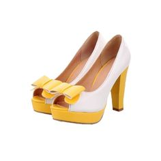 Charm Foot Fashion Bows Womens Platform High Heel Peep Toe Pumps Shoes featuring polyvore women's fashion shoes pumps peep toe platform shoes high heel shoes high heel platform shoes high heel platform pumps peep toe shoes