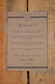 Destination Wedding Welcome Note  Heart & by WanderlustWeddings, $15.00                                                                                                                                                      More