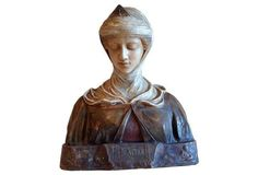 Polychrome Earthenware Bust of a Woman
