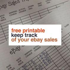 Free Printable eBay Sales Tracker