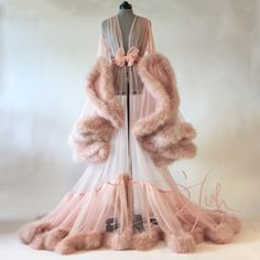 "Image of ""Cassandra"" Extravagant Naturelle Marabou Dressing Gown  (pre-order!)"