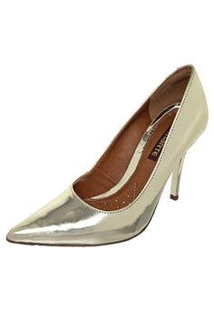 Desejo! Scarpin Metalizado Dourado Lojas De Calçados Femininos, Loja De  Calçado, Calças Femininas 641ed721c6