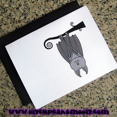 cute gray vampire bat hanging upside down halloween greeting cards, notecards, thank you notes. custom personalized - set of 10 handmade by OnCupcakeMoon