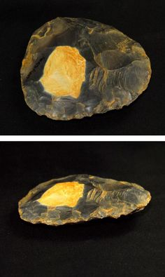 """Mousterian Bifacial Handaxe (Mousterian: a style of predominately flint tools assigned to Neanderthals) Middle Paleolithic period - 80,000-40,000 years ago - 3.54"""" (9 cm) length x 2.95"""" (7.5 cm) width - Northfleet, Kent, England"""
