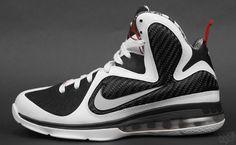 Freegums x Nike LeBron 9. Sick Linear black and white pattern.  Soletron.com #Lebron #Freegums #Basketball
