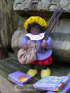 "Zwarte Piet with the ""Roe"" and burlap bag (to take naughty children to Spain -)"