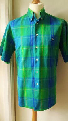 Lacoste Classic Check Shirt Authentic Basi S.A Label Mens Size XL Green Blue