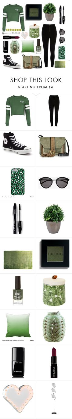 """Groovy in green"" by stylist-21 ❤ liked on Polyvore featuring Topshop, River Island, Converse, L'Autre Chose, Yves Saint Laurent, Lancôme, Designers Guild, Bobbi Brown Cosmetics, Surya and Chanel"