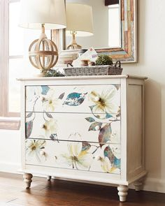 Hands-on approach: Its the personal touch that makes a look your own. Our hand-painted Mallory Floral Chest is a good starting point for your creative additions. - May 04 2019 at Repainting Furniture, Decoupage Furniture, Refurbished Furniture, Paint Furniture, Repurposed Furniture, Shabby Chic Furniture, Furniture Projects, Rustic Furniture, Furniture Makeover
