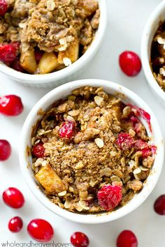 These mini-sized pear cranberry crisps are a breeze to throw together ...