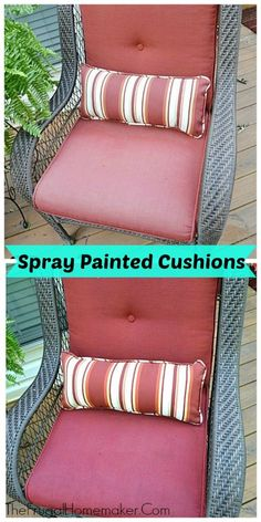 DIY spray painted outdoor cushions from The Frugal Homemaker DIY Saturday featur. DIY spray painted outdoor cushions from The Frugal Homemaker DIY Saturday featured project Patio Furniture Makeover, Patio Furniture Cushions, Outdoor Furniture Plans, Outdoor Patio Cushions, Cleaning Outdoor Cushions, Furniture Ideas, Painted Outdoor Furniture, Lawn Furniture, Wicker Furniture