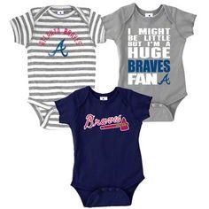 Atlanta Braves Infant Baby Rib Creeper 3-Pack $25.99 I freaking want these!!! Ahhh